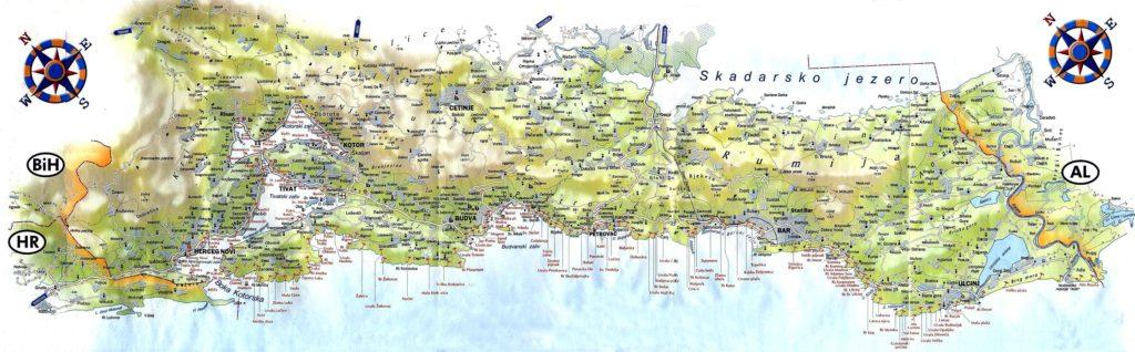 Mapa de playas de la costa de Montenegro