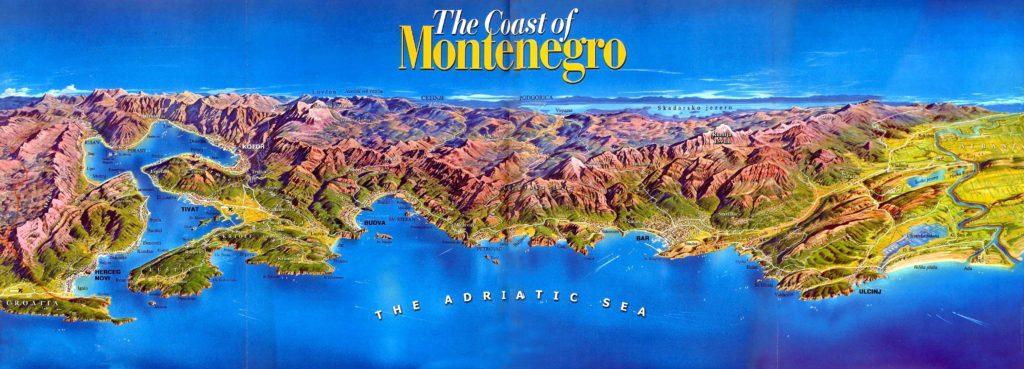 Mapa del relieve de la Costa de Montenegro