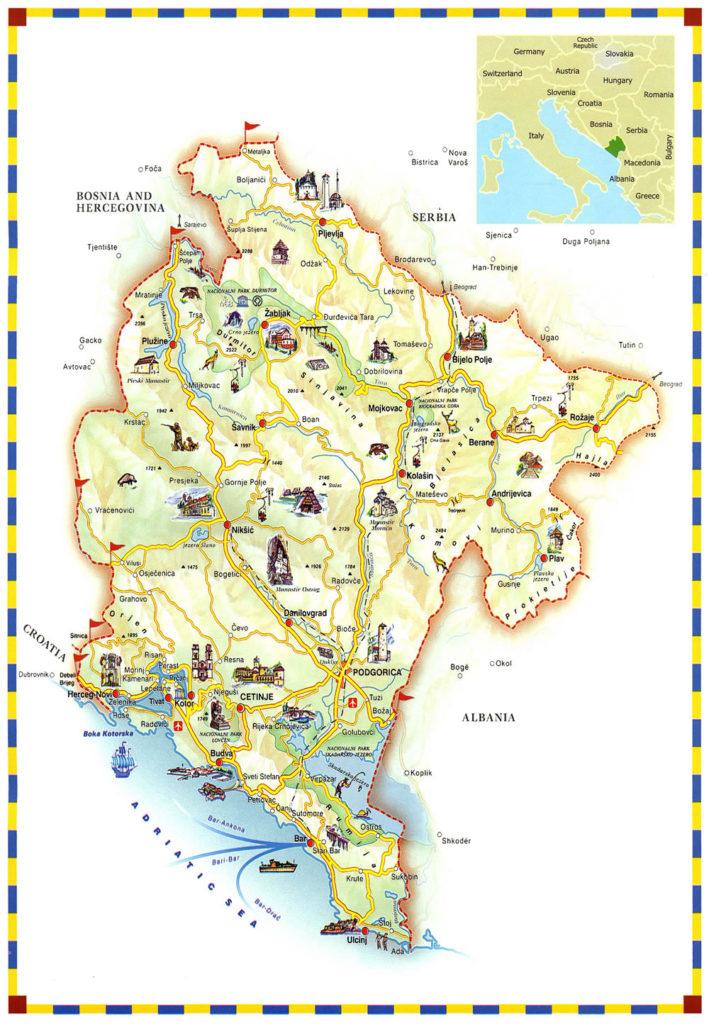 Mapa turístico de Montenegro