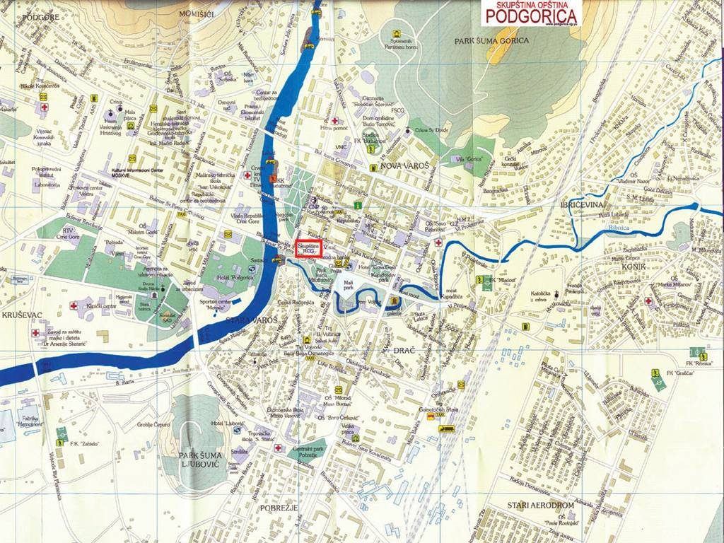 Mapa de Podgorica