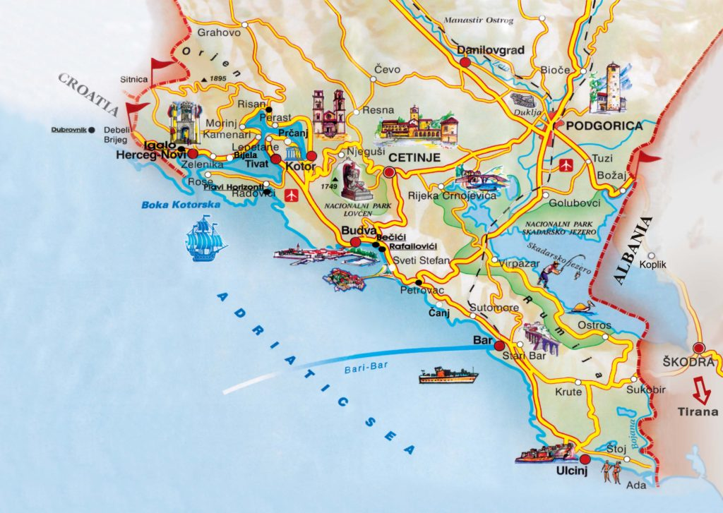 Mapa turístico de la costa de Montenegro