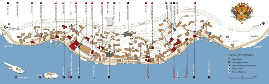 Mapa de los edificios históricos e iglesias de Perast
