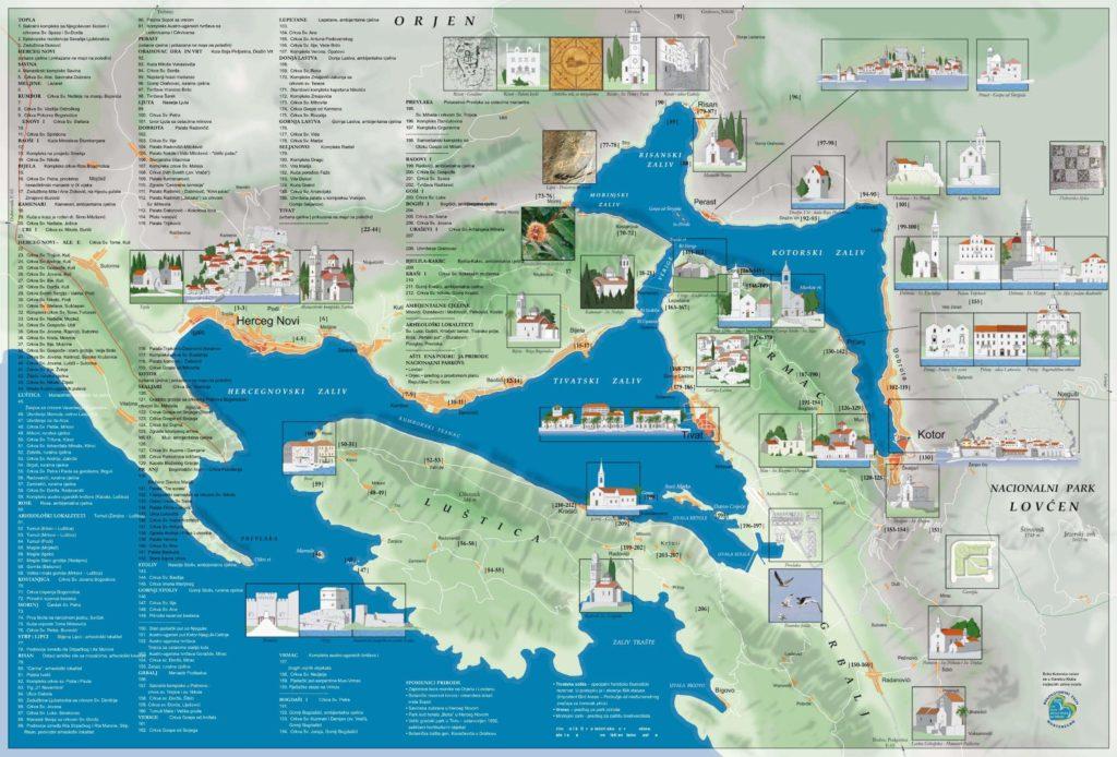 Mapa de la Bahía de Kotor
