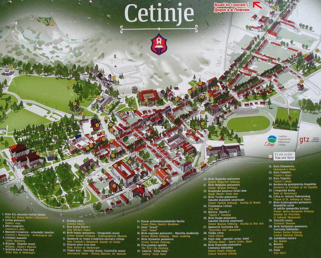 Mapa y plano de Cetinje y sus monumentos principales