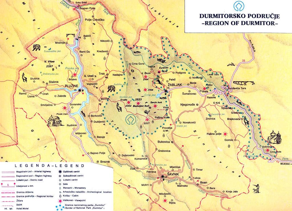 Mapa del Parque Nacional Durmitor