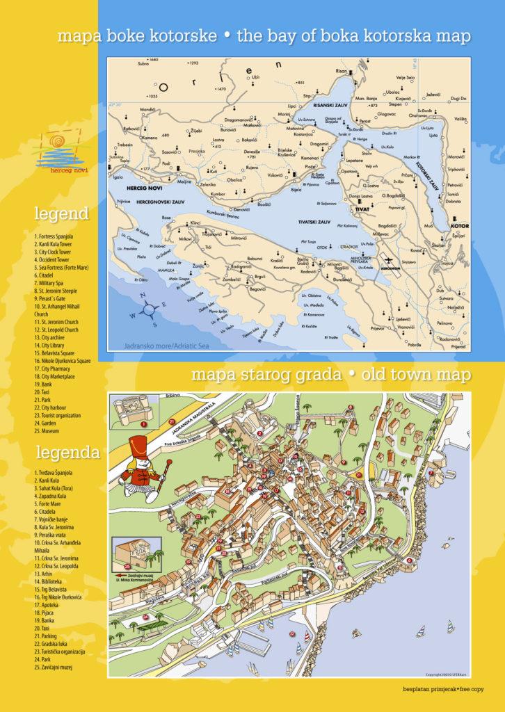 Mapa turístico del centro de Herceg Novi