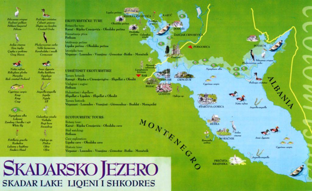 Mapa del lago Skadar