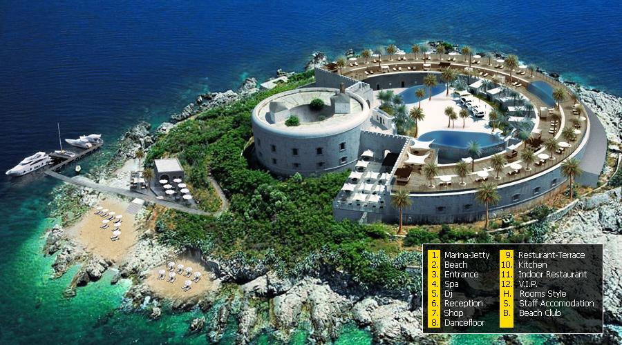 Proyecto de construcción del hotel de lujo en la isla de Mamula
